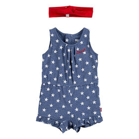Levis Romper with Headband - Blue, 12 months