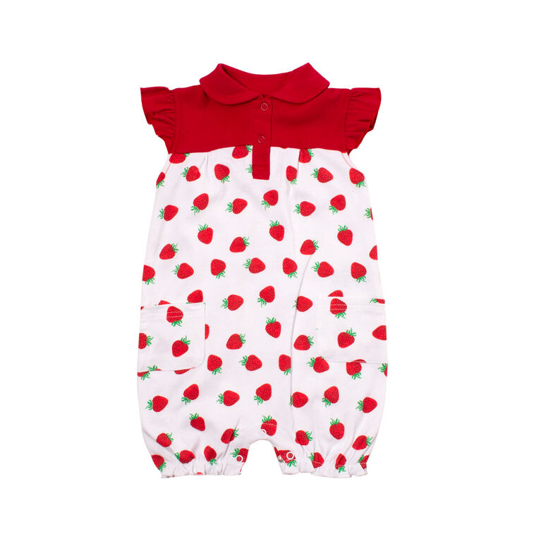 Snugabye Girls-Strawberries Romperwith Ruffle Red/White 9-12 Months