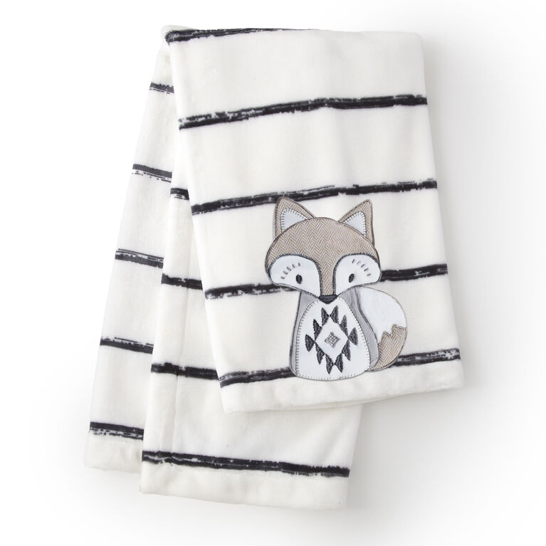 Levtex Baby Bailey White Charcoal Stripe Plush Blanket
