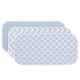 Kushies Baby Bavettes Couvre-Épaule Paquet de 3 - Bleu/Blanc