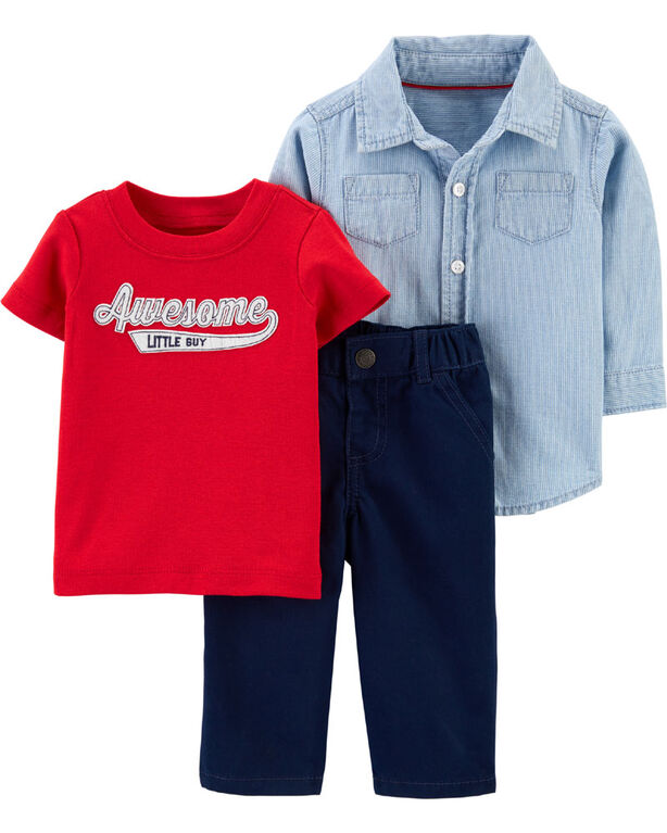 Ensemble 3 pièces pantalon Awesome Little Guy Carter's - bleu/rouge, 3 mois