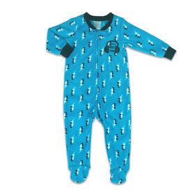 Dormeuse Koala Baby en micropolaire de couleur bleue et motif d'éclairs - Little Rock Star, 0-3M