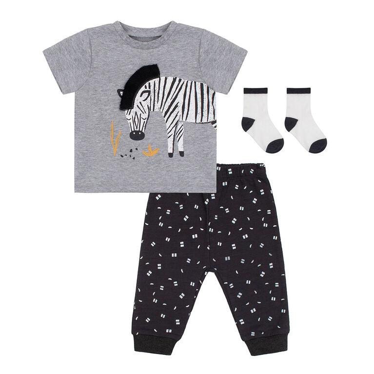 PL Baby Safari Ensemble Pantalon, T-Shirt & Chaussettes Gris 3M