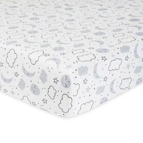 Gerber Organic Fitted Crib Sheet, Grey Cosmic