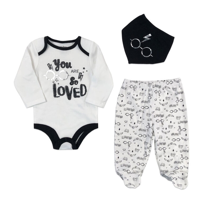 Harry Potter 3 Piece Layette Set - Black, 12 Months.