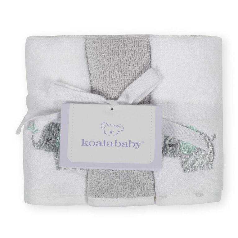 Débarbouillettes de Koala Baby paquet de 6 gris.