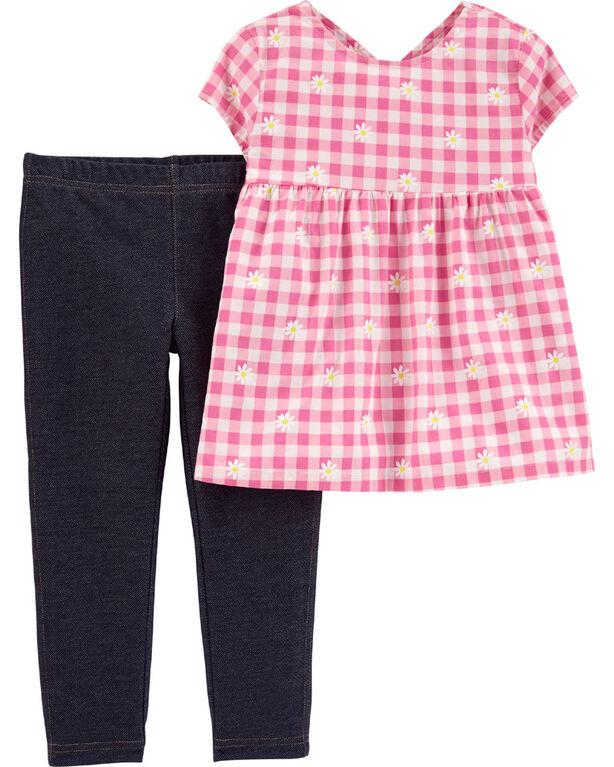 Carter's 2-Piece Floral Gingham Top & Knit Denim Legging Set - Pink/Navy, 3 Months
