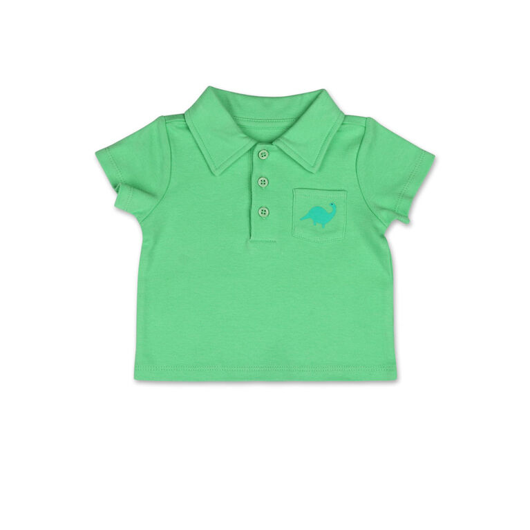 Koala Baby Short Sleeved Green Golf Shirt with Pocket Detail - 6-12 Months