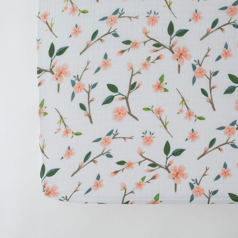 Red Rover - Cotton Muslin Crib Sheet -  Peach Blossom - R Exclusive