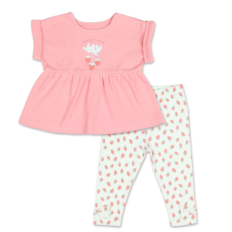 Koala Baby Strawberries Rolled Sleeve Top/Legging 2 Piece Set, 12 Month