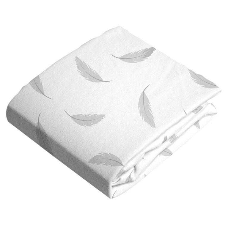 Kushies Playard Sheet Flannel Grey Feathers