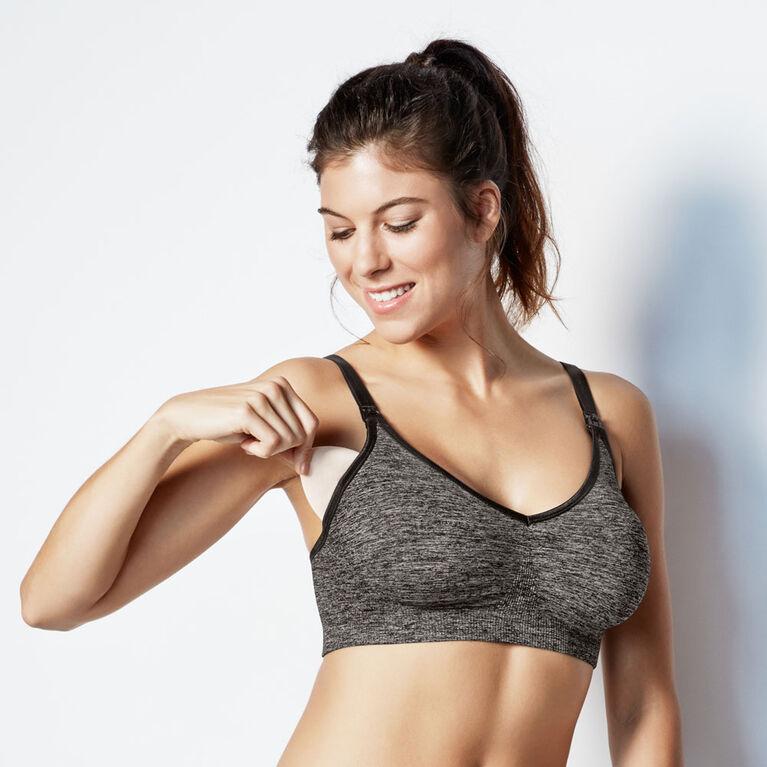 Bravado Designs Body Silk Seamless Yoga Nursing bra - Charcoal Heather, X-Large