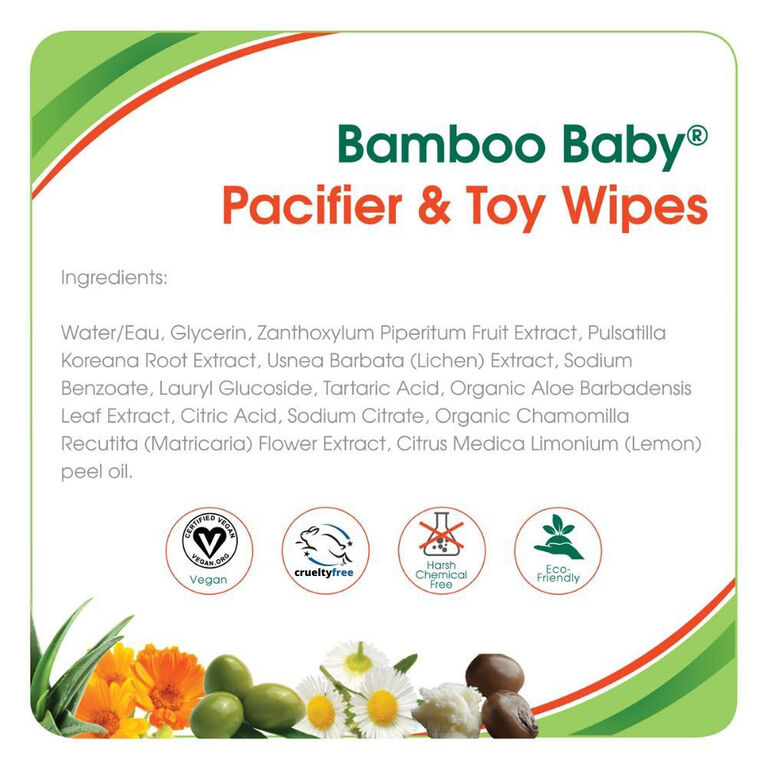 Aleva Naturals Bamboo Baby Pacifier & Toy Wipes 30 count