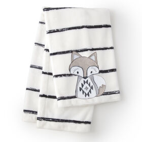 Levtex Baby Bailey White Charcoal Stripe Plush Blanket