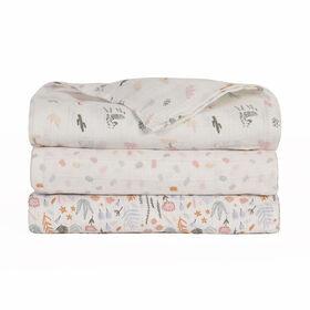 Baby's First by Nemcor Lot de 3 couvertures en mousseline de coton, motif floral