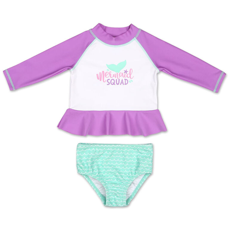 Koala Baby 2Pc Long Sleeve Rash Guard Set Purple Mermaid 3-6 Months