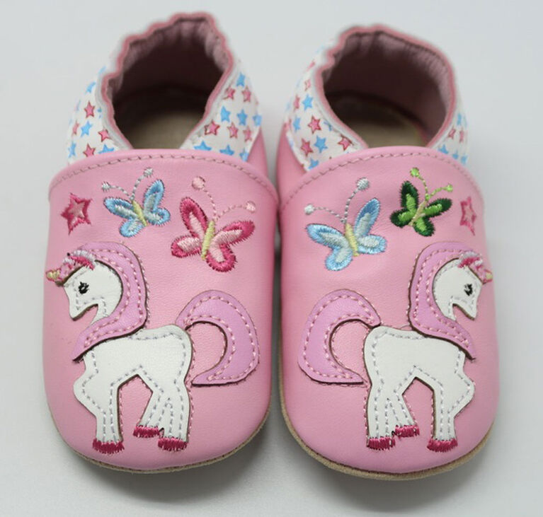 Tickle-toes rose avec Licorne 100% Soft Leather Shoes 0-6 mois