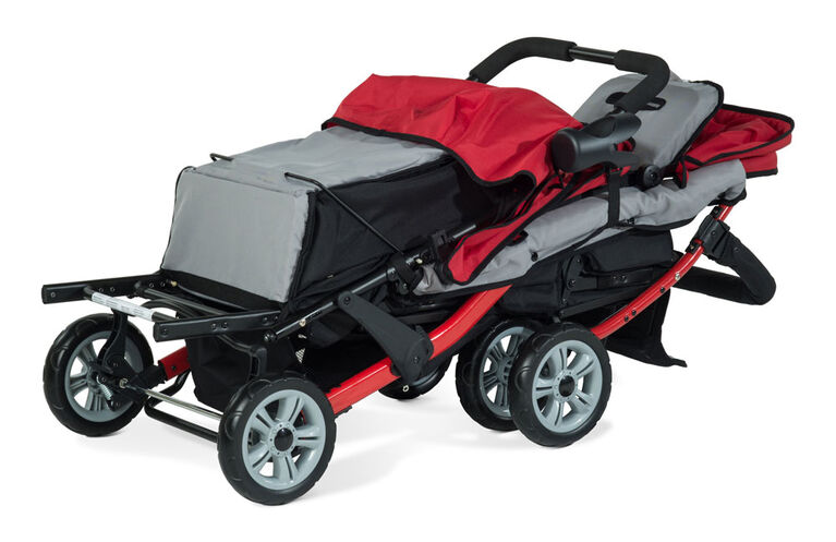 Foundations Splash of Colour Trio Sport 3 Passenger Stroller - Red