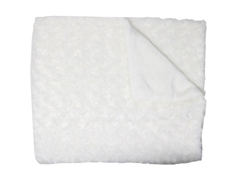 Small Wonders  Plush Rosette Blanket - White