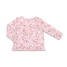 The Peanutshell Baby Girl Layette Mix & Match Wildflower Ruffle Bottom Long Sleeve Shirt - 0-3 Months