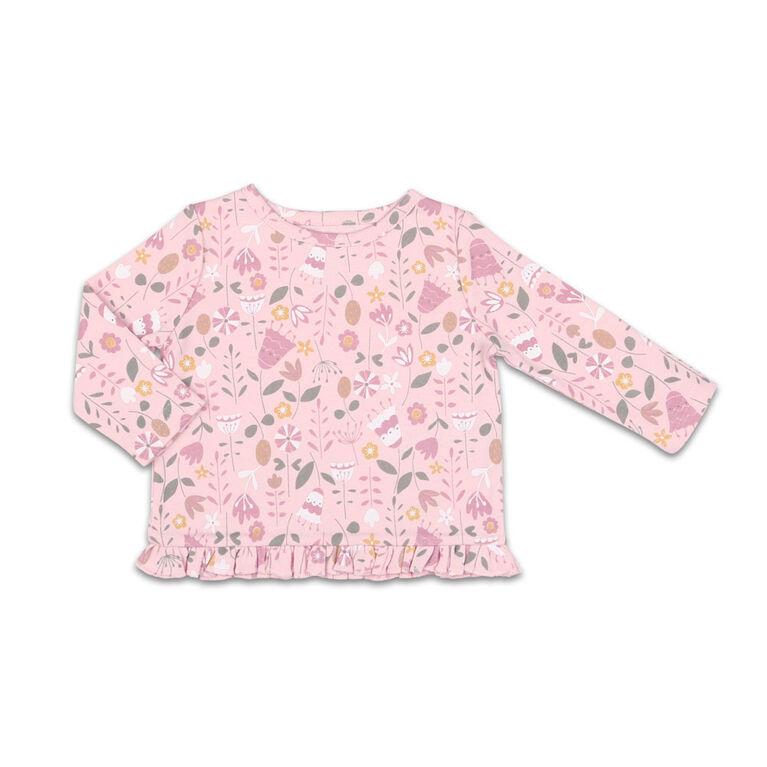 Chemise à manches longues The Peanutshell motif fleur sauvage et bas à volants interchangeable, layette pour bébé fille - 6-9 Mois
