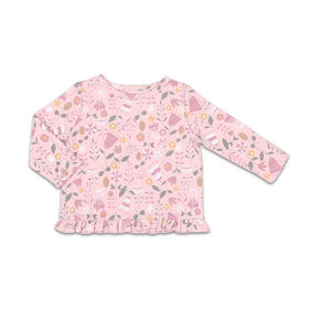 The Peanutshell Baby Girl Layette Mix & Match Wildflower Ruffle Bottom Long Sleeve Shirt - 12-18 Months