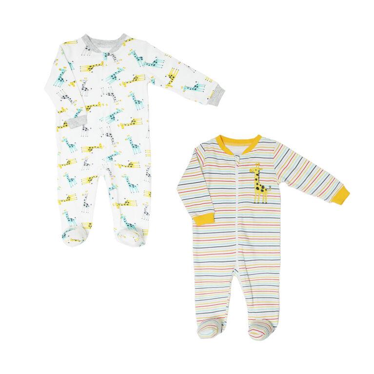 Koala Baby Neutral 2 Pack Sleeper - Giraffe Yellow, 12 Months