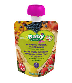 Baby Gourmet PLUS petits fruits sauvages, rhubarbe, chou frise et quinoa.