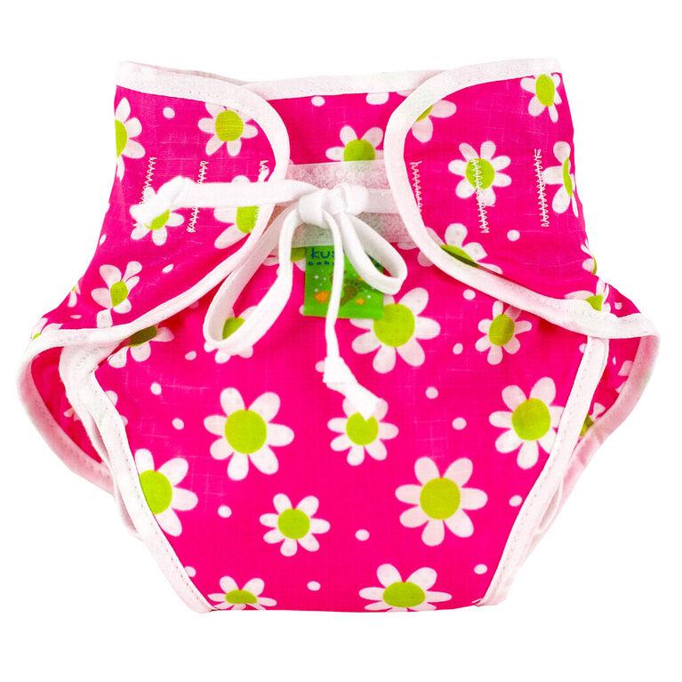 Kushies Swim Diaper, Large - Fuchsia Daisy Print