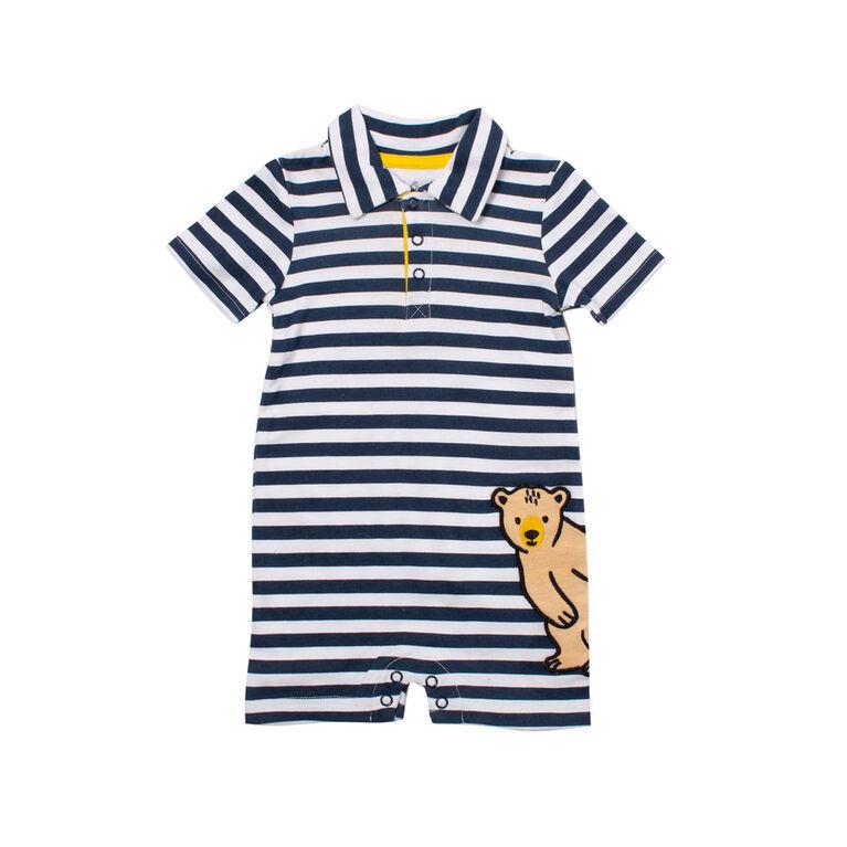 Snugabye Boys-Polo Romper -Bear Blue/White Stripes 18 Months