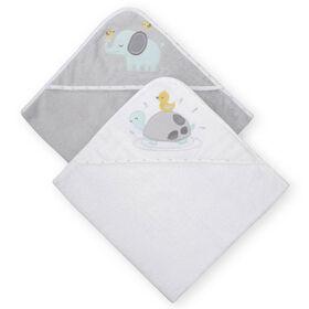 Capes de bains de Koala Baby paquet de 2 gris.