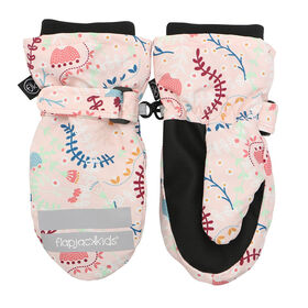 FlapJackKids - Toddler, Kids, Girls Water Repellent Ski Mittens - Ribbed Cuffs - Floral Pink - Large 4-6 years