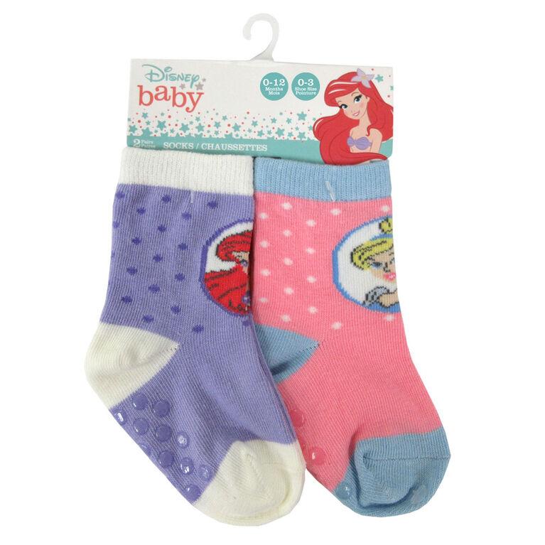 Disney - 2 Pack Crew Sock - Princess, Purple, 12-24M