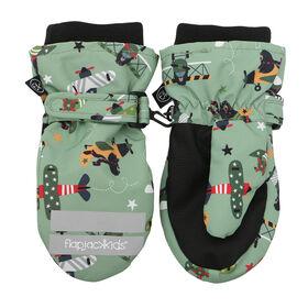 FlapJackKids - Toddler, Kids, Boys Water Repellent Ski Mittens - Ribbed Cuffs - Black Bear/Green - Medium 2-4 years