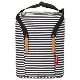Skip Hop Grab & Go Double Bottle Bag - Black/White Stripe