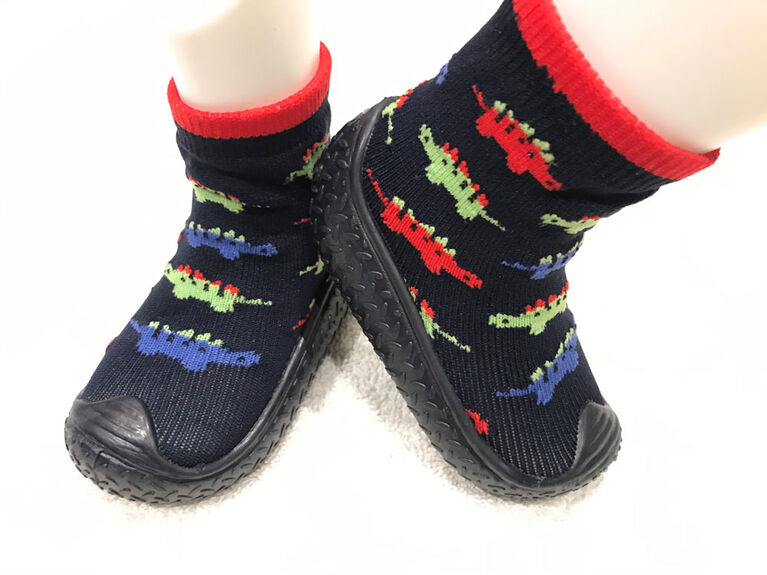 Tickle toes - Navy Sole & Socks with Dinos Skids Proof Shoes 18-24 Months