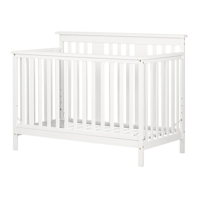 South Shore, Modern Baby Crib - Adjustable Height Mattress with Toddler Rail - Pure White