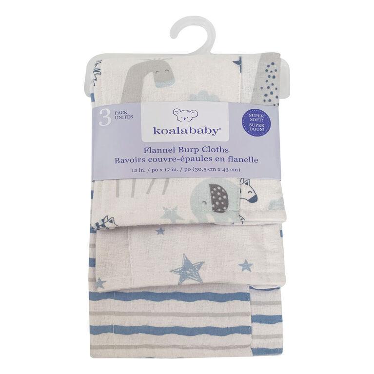 Koala Baby - Bleu Pack De 3 Flanelle Burp