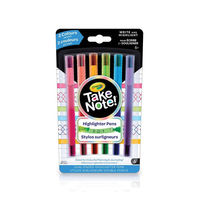 6 stylos surligneurs à deux pointes Crayola Take Note!