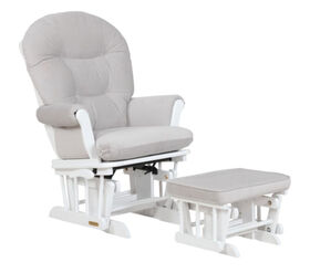 Lennox - Valencia Multiposition lock Glider Chair and Ottoman Combo - White/Grey - R Exclusive