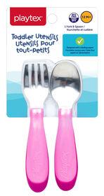 Playtex - Comfort Mealtime Fork & Spoon - Pink, Styles May Vary
