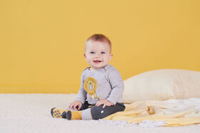 Just Born Baby Boys 2-Piece Organic Long Sleeve Onesies Bodysuit and Pant Set - Lil Lion 0-3 Months