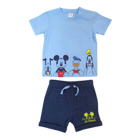 Disney Mickey Mouse ensemble Short 2 pièces - Bleu, 12 mois
