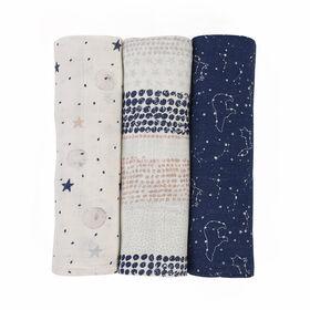 Baby's First by Nemcor Lot de 3 couvertures en mousseline de coton, motif étoilé