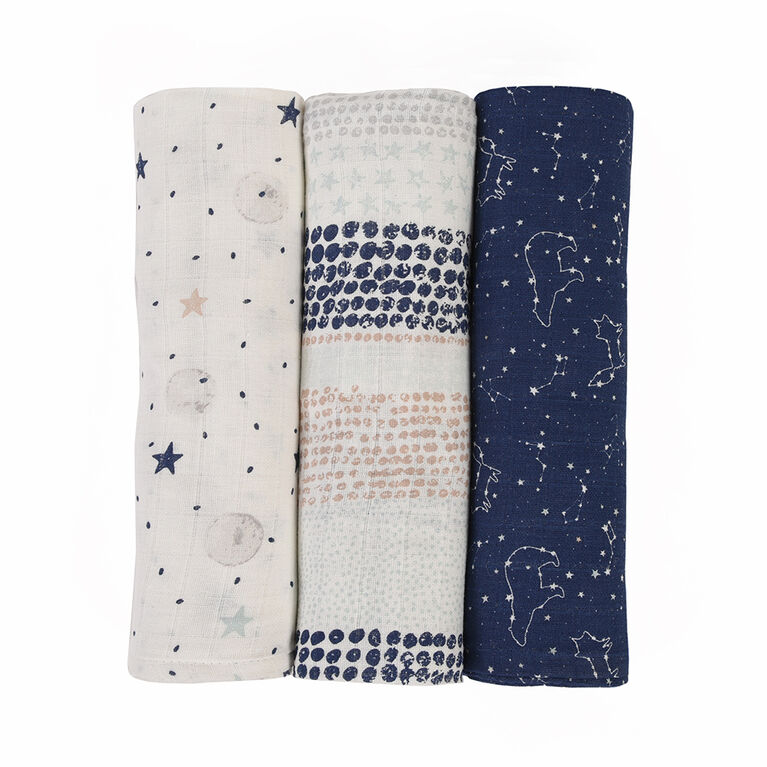 Baby's First by Nemcor 3 Pack Cotton Muslin Receiving Blankets, Starry Night
