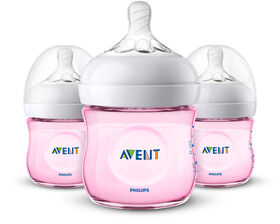Philips Avent Natural Baby Bottle 3-Pack 4oz - Pink