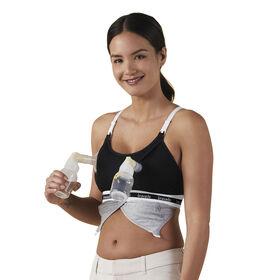 Bravado Designs Accessoire mains libres pour soutien-gorge d'allaitement Clip and Pump - Noir, T-Grande.