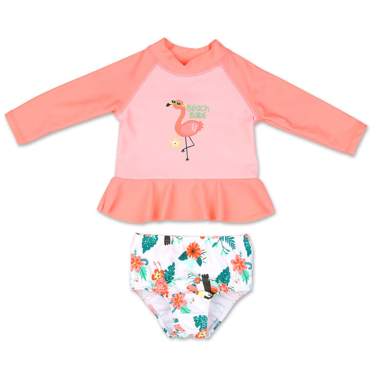 Koala Baby 2Pc Long Sleeve Rash Guard Set Coral Flamingo, 3-6 Months