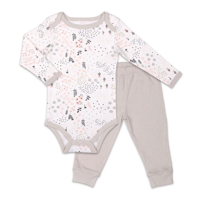 Ensemble combinaison et pantalon Koala Baby Dream Girl, imprimé floral avec pantalon gris - 3-6 Mois