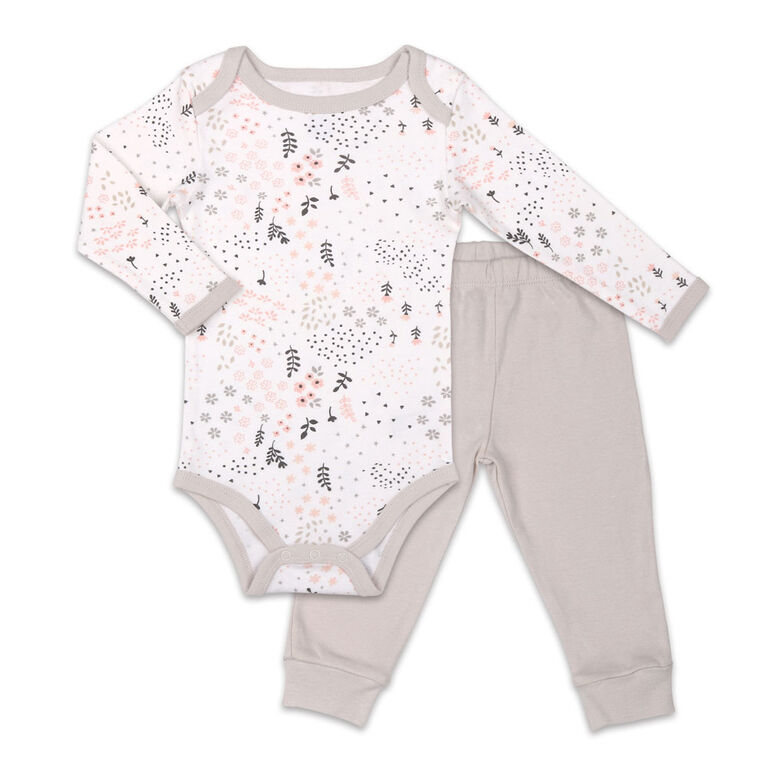 Koala Baby Bodysuit and Pant Set, Floral Print with Grey Pants  - 6-9 Months